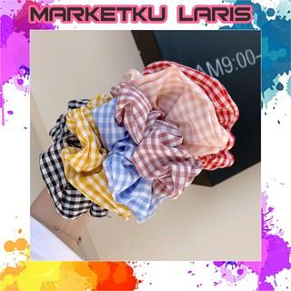 MKL - Ikat Rambut Ponytail Elastis Motif Kotak-Kotak Bahan Katun Linen Gaya Korea Wanita Import R184 thumbnail