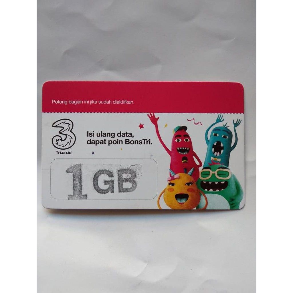 Isi Ulang Voucher Kuota Tri Three 3 Bm 1gb Shopee Indonesia Paket Aon 2gb Dan Extra