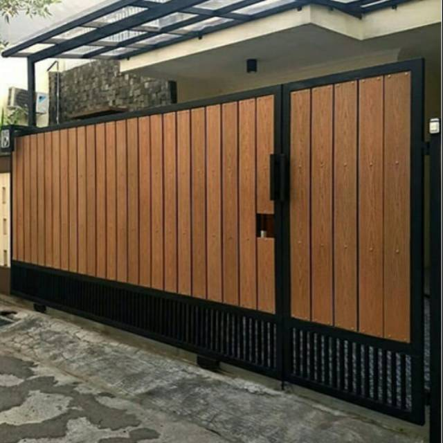 Pintu Dorong Kombinasi Grc Serat Kayu Pagar Besi Pintu Gerbang