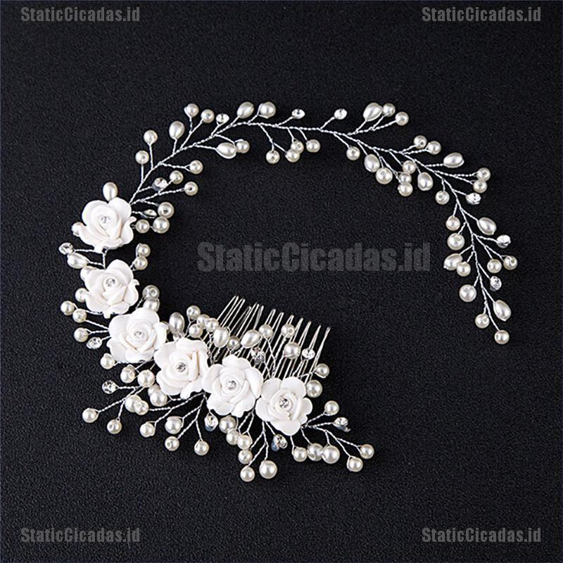 Static Luxury Wedding Hair Jewelry For Bridal Pearl Hair Comb Hand Made Hair Accessory Id Shopee Indonesia