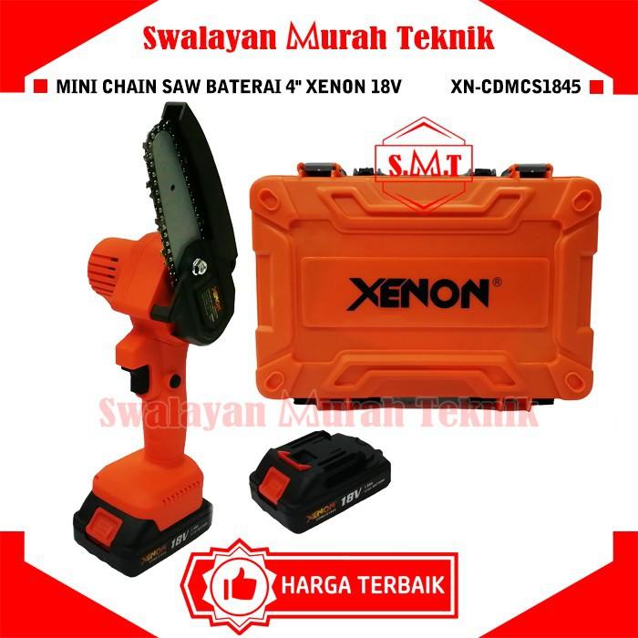 """Mini Chainsaw Baterai XENON CDMCS1845 Cordless Mini Chain Saw 2 Batery 18Volt 4"""""""