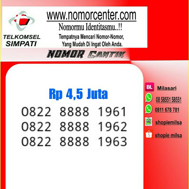 Nomor Cantik Simpati Seti kuartet 8888 super hoki rapi unik langka murah meriah | Shopee Indonesia