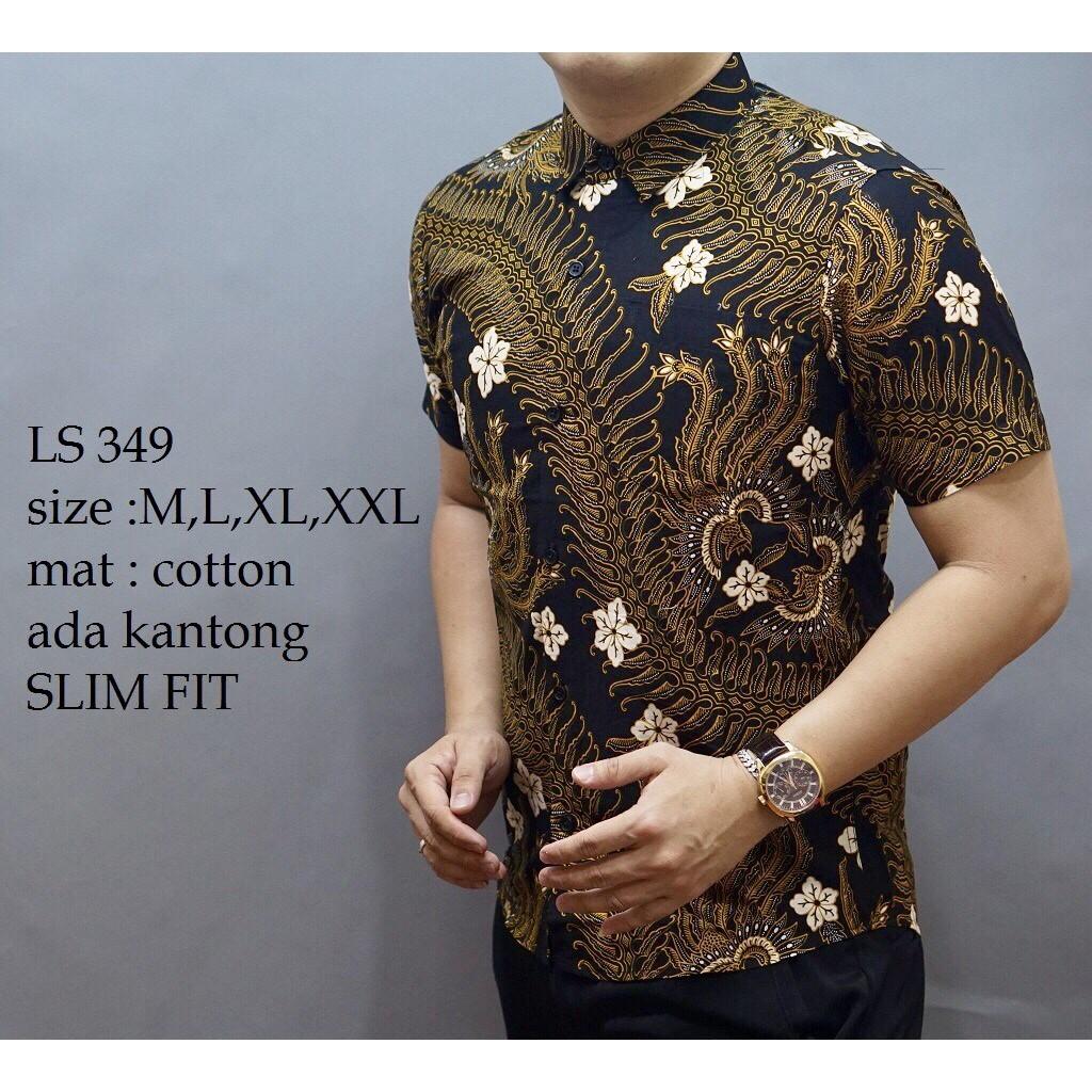 Batik Pekalongan Modern Original Kemeja Prada Emas Motif Kembang Pria Lengan Pendek 2 Layer Mlxl Gede Trendy Termurah Shopee Indonesia
