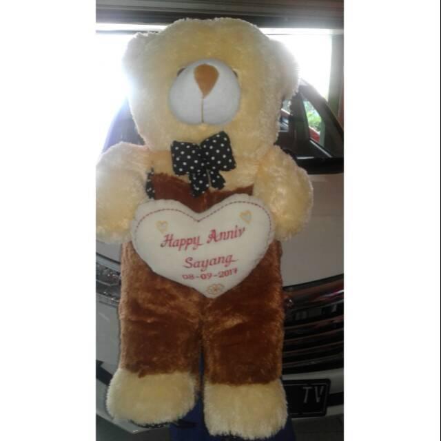 Boneka beruang lucu 1 meter merah + bordir nama Termurah  b9857ed2e2