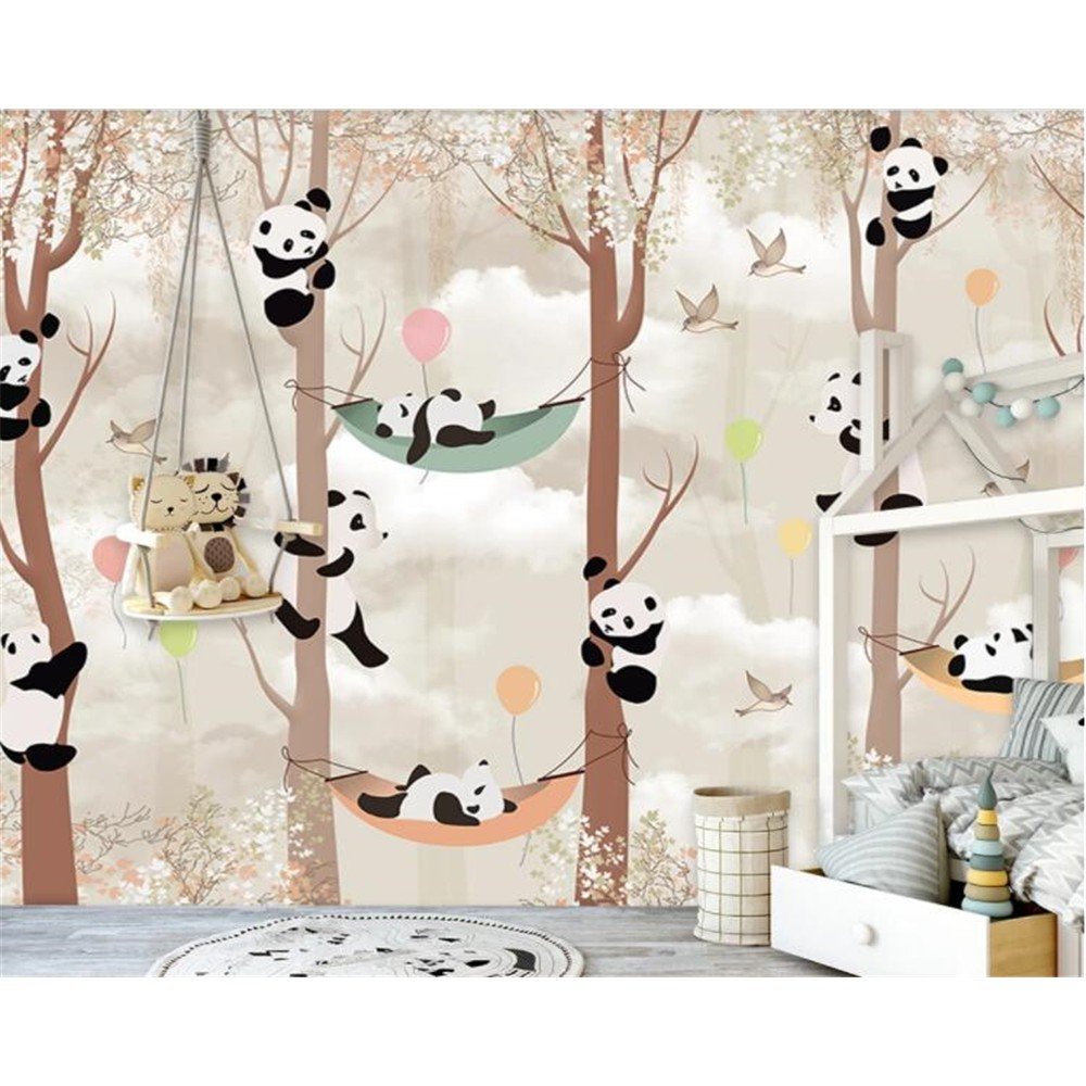 Beibehang Wallpaper Kustom Foto Kartun Panda Pohon Kamar Anak Anak Tk Latar Belakang Dinding Shopee Indonesia