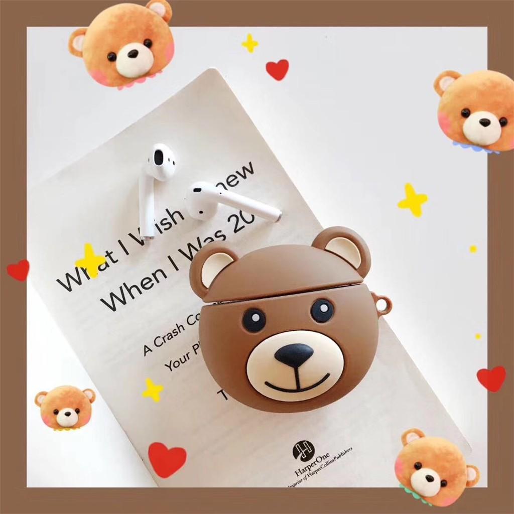Airpod Airpods 2 Wireless Bluetooth Bentuk Kartun Teddy Bear Untuk Apple Shopee Indonesia