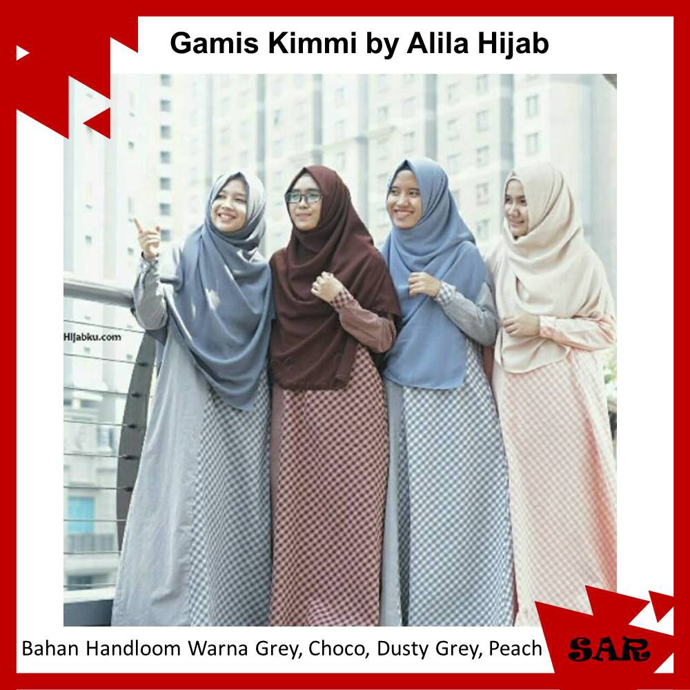Gamis Kimmi Kotak Kotak Syari Busuifriendly Wudhufriendly Bahan Handloom By Alila Hijab