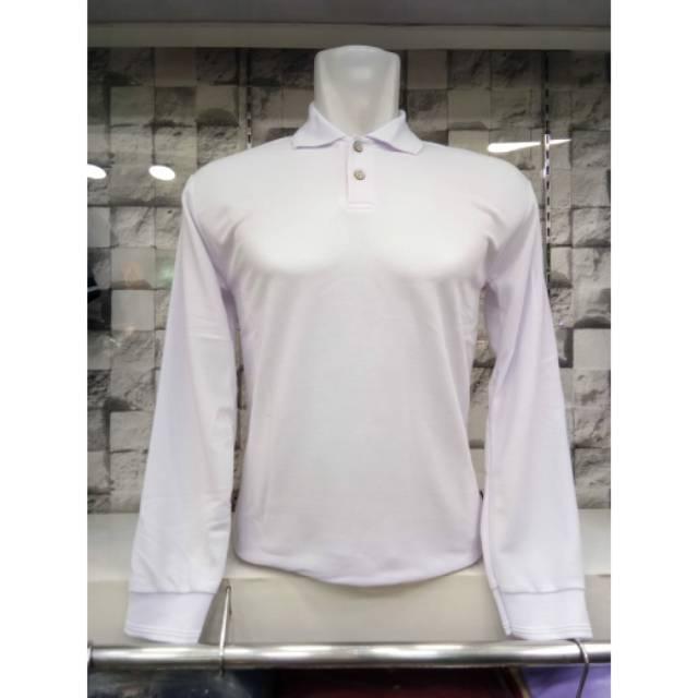 Kaos Polo Pria Berkerah Polos Lengan Panjang Warna Putih Kaos Polo Pria Dan Wanita Polos Panjang Shopee Indonesia