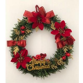 dekorasi hiasan natal pintu wreath ring krans bulat murah