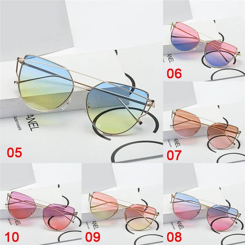 2Pieces Fashion Unisex Mirrored Cat Eye Triangle Frame Glasses Sunglasses UV400