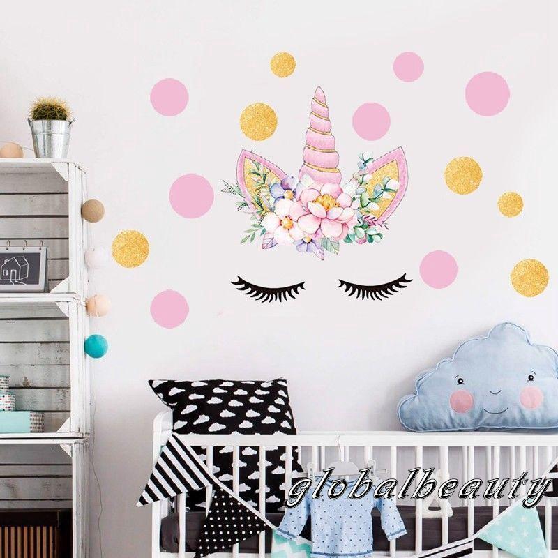 Stiker Dinding Dengan Bahan Mudah Dilepas Dan Gambar Unicorn Untuk Dekorasi Kamar Anak Shopee Indonesia