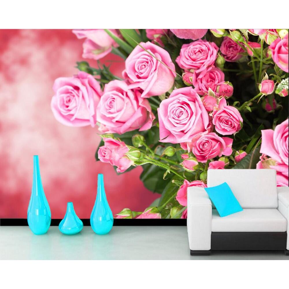 Wallpaper Desain Bunga Mawar 3D Warna Pink Untuk Ruang Tamu Kamar Tidur