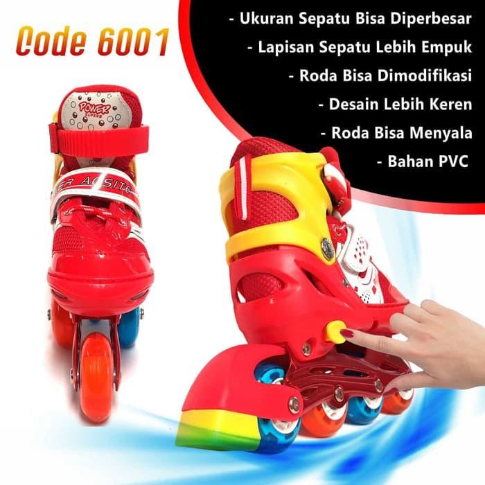 Sepatu Roda Anak Inline Skate Kids Ban Karet LED PVC Power Aosite 6001  c147098585