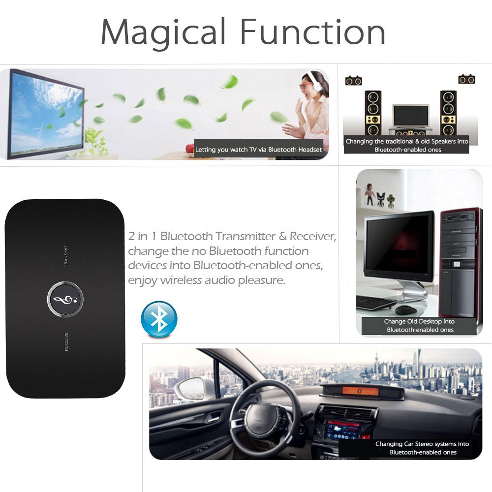 Bluetooth V4.1 Transmitter/&Receiver A2DP Home TV Stereo Audio Adapter 3.5mm Car