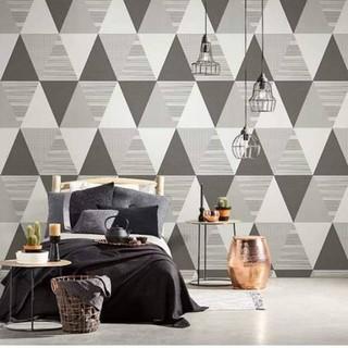 wallpaper dinding kamar minimalis murah segitiga tribal