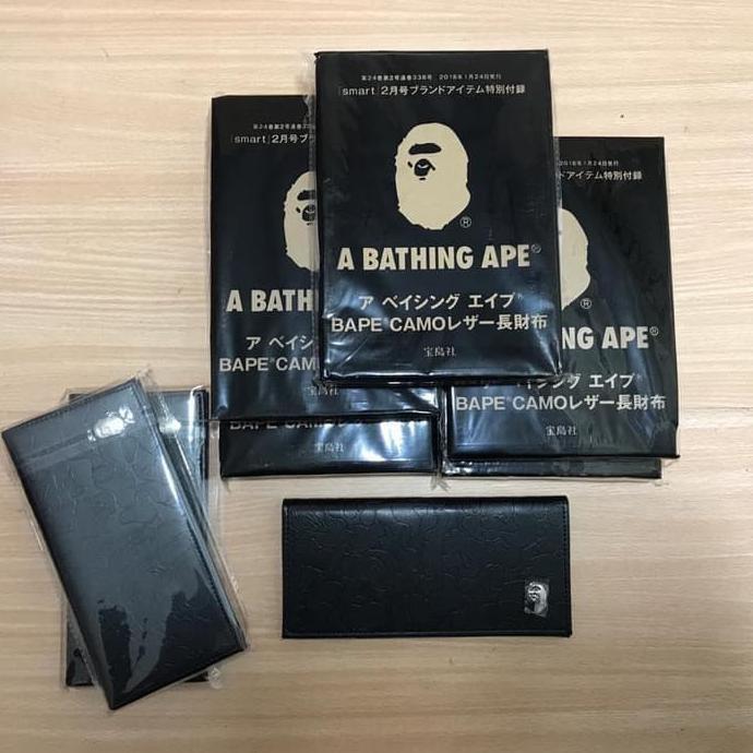 Bape Leather Long Wallet Original Bathing Ape Dompet Pria Cowok Kulit