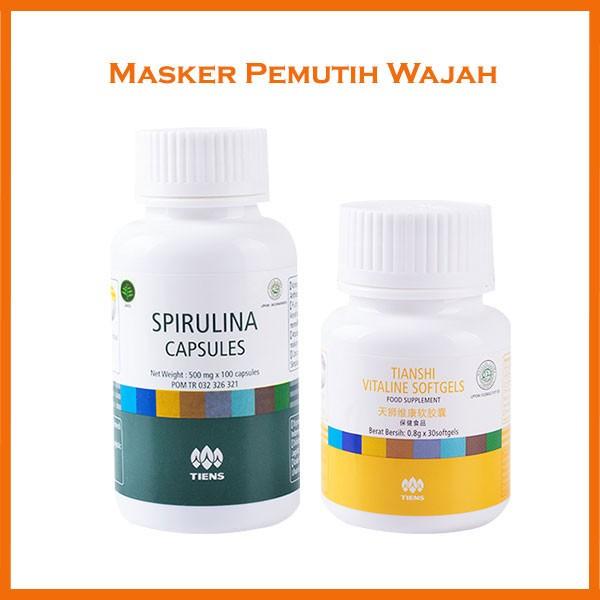 Masker Wajah Spirulina + Serum Vitaline Pemutih Wajah Penghilang Jerawat -50 Spirulina + 10 Vitaline | Shopee Indonesia