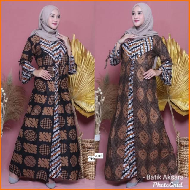 Gamis Batik Cardi Modern Model Terbaru Original Batik Pekalongan Murah Gamis Naura 2020 Modis Trend Shopee Indonesia