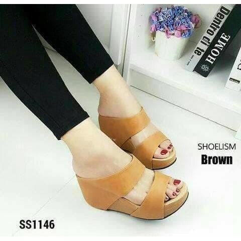 6df19deb3fc D02 Women Wedges Sandal 7cm - Sandal Wanita Wedges 7 Cm HITAM COKELAT TAN  CREAM CAMEL BROWN