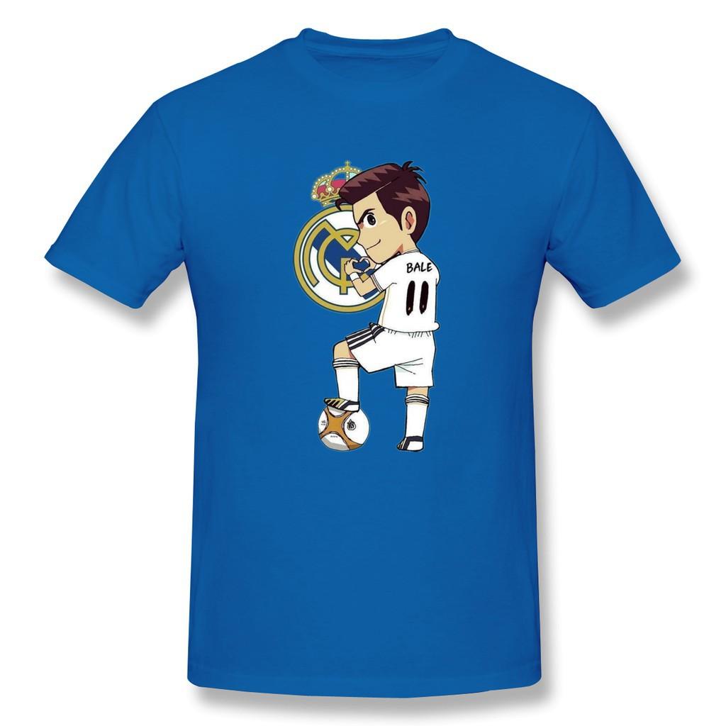 Real Madrid Kartun Olahragawan Atasan Kasual Pria T Shirt Tren Katun Liar Kasual T Shirt Biru