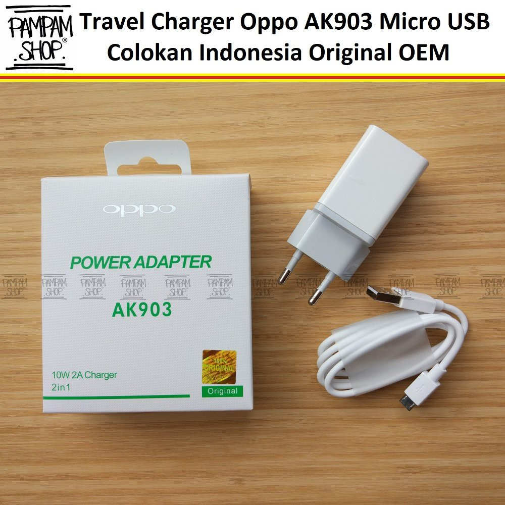 Travel Charger Oppo Colokan Indonesia 2A Original AK903 Micro USB F3 F5 A57 F1 A53 A59 Fast Charging | Shopee Indonesia