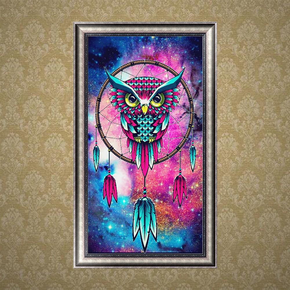 Lukisan Sulaman Berlian 5d Jahitan Bersilang Desain Burung Hantu