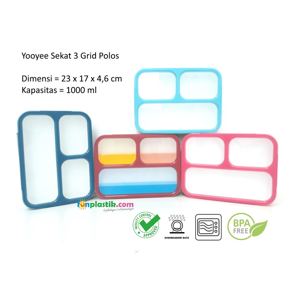 Yooyee Lunch Box 4 Sekat Bento 367 Kotak Bekal Makan Sup Item 415 Lunchbox Yoo Yee Shopee Indonesia