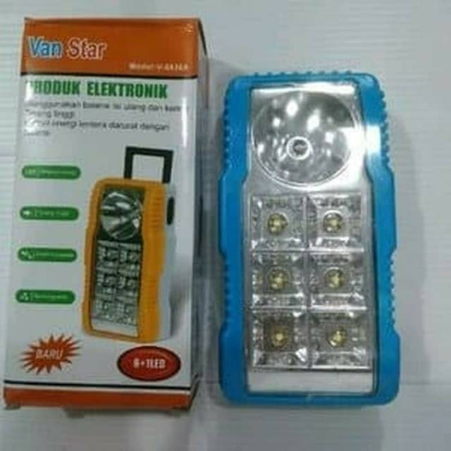 6 1 Led Vanstar Lampu Kotak Emergency Lentera Rechargeable V 6836a Shopee Indonesia