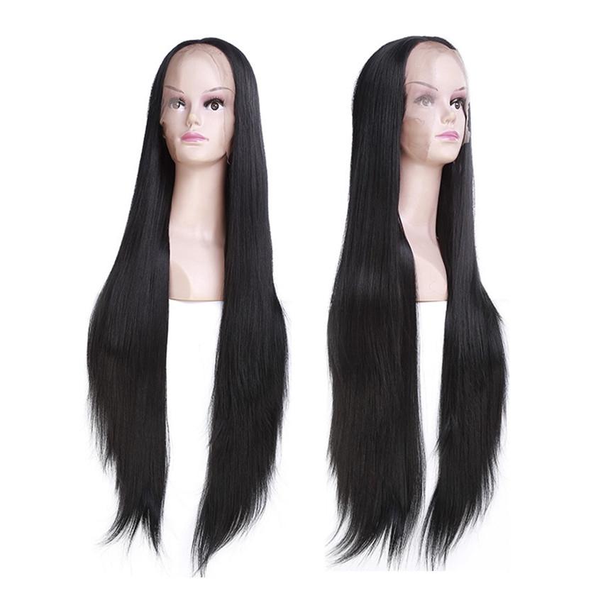 Rambut Wig Imitasi Wanita Model Panjang Lurus Belah Tengah Tampak Asli  Tahan Suhu Tinggi  61ae8dd517