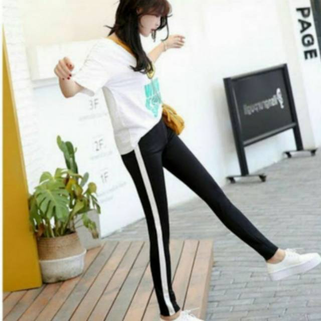 Legging Strip Celana Stripe Shopee Indonesia