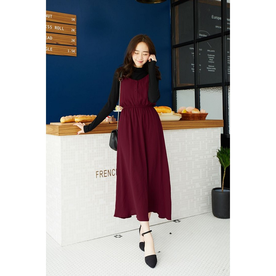 Long Dress Maroon Maxi Panjang Korean Style Dksh Exclusive Tas Ransel Anak Cewek Int 400