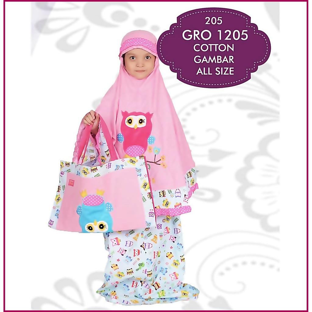 Mukena Sholat Muslimah Anak Perempuan Lucu Cantik Pink Gambar Karakter Burung GRN165N