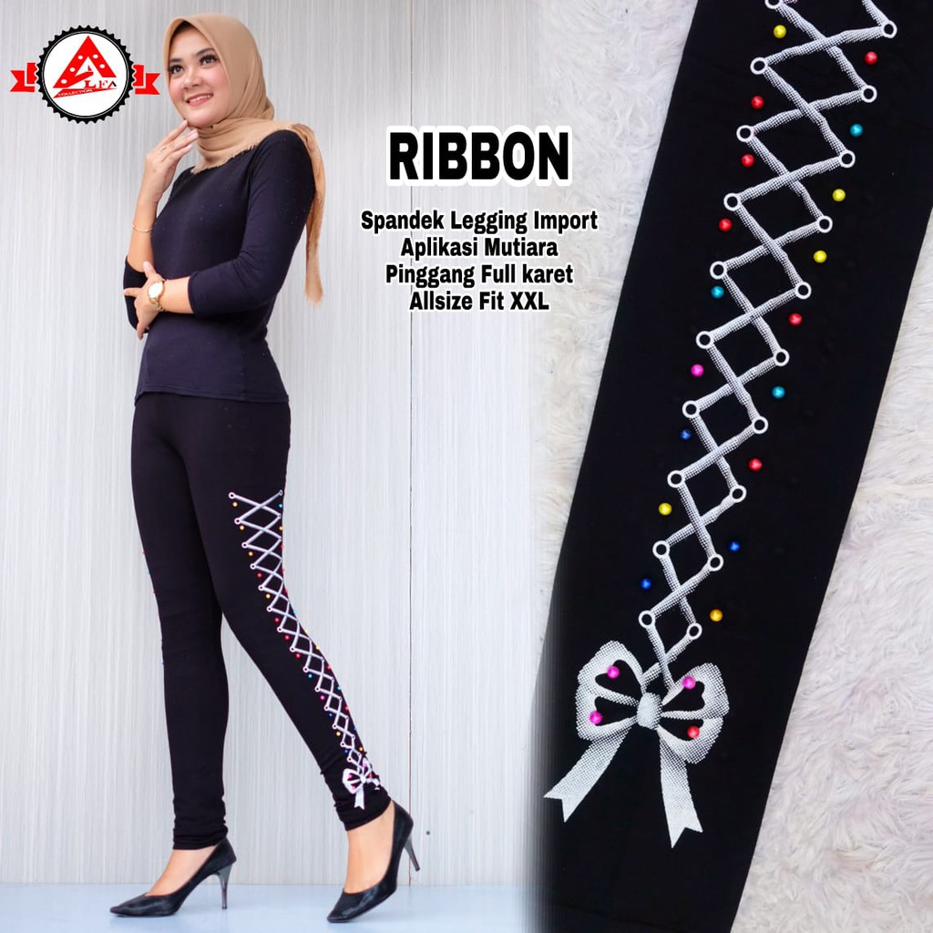 Cod Celana Legging Wanita Ribbon Terbaru Shopee Indonesia