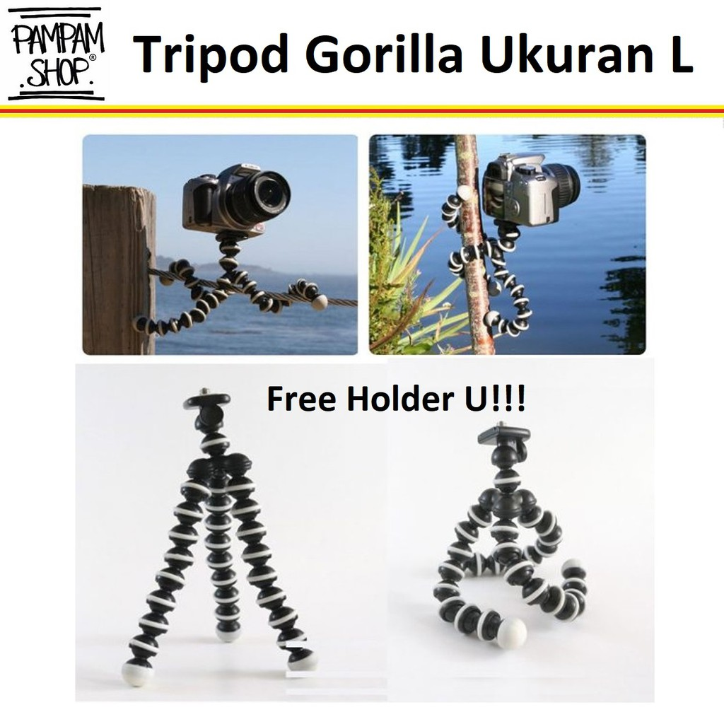 Octopus Gorilla MEDIUM SIZE Tripod With Holder U for Smartphone / HP | Shopee Indonesia