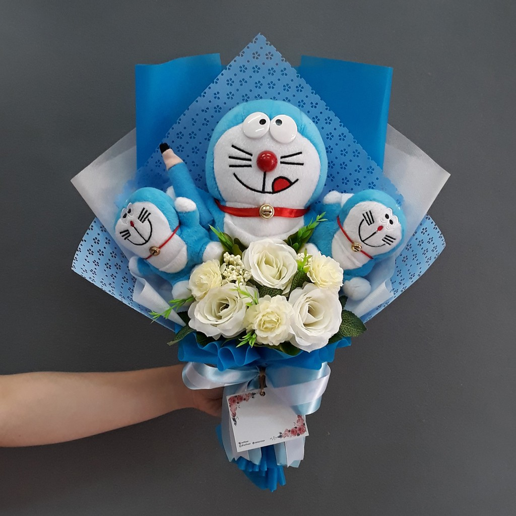 Buket Bunga Artificial Doraemon Kado Ulang Tahun Anniversary