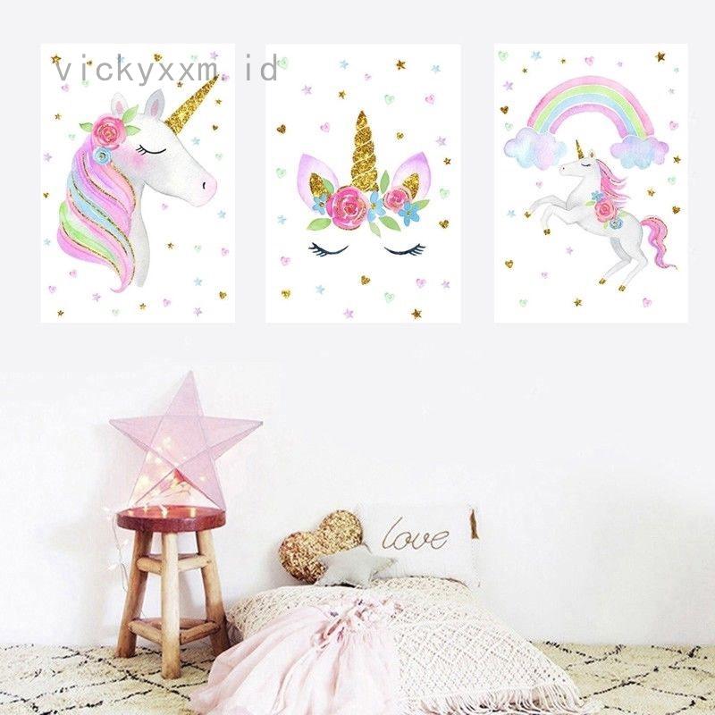 Poster Lukisan Kanvas Gambar Unicorn Pelangi Lucu Untuk Dekorasi Dinding Kamar Anak Shopee Indonesia