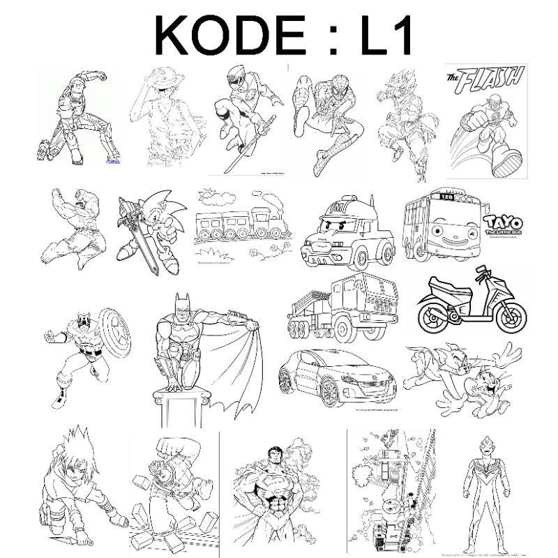 20lmbr Paket Kertas Buku Mewarnai Gambar Karakter Kartun Colouring Paper Mainan Edukasi Anak Tk Shopee Indonesia