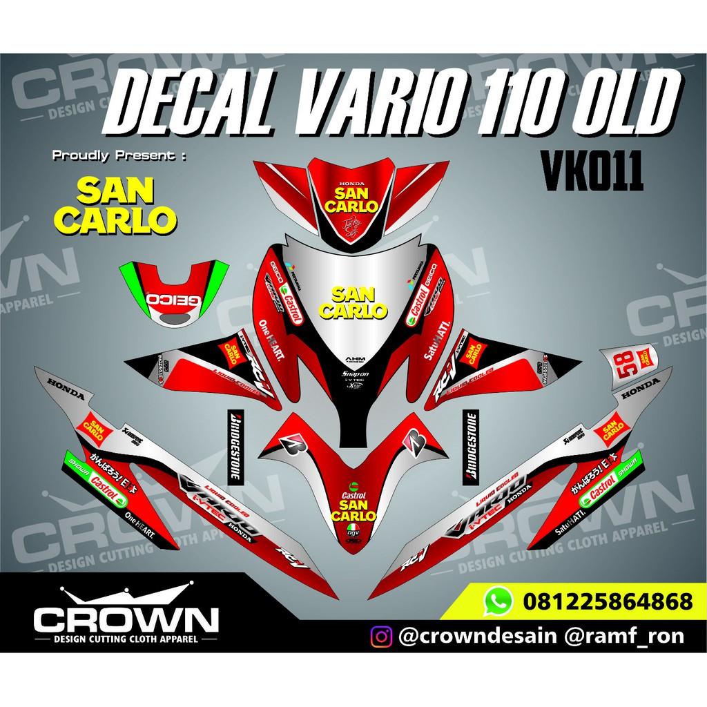 Decal vario 110 old sunmoon rossi shopee indonesia