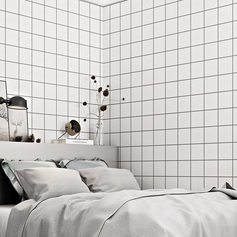 Nordic Ins Angin Hitam Dan Putih Kotak Kotak Persegi Wallpaper Yang Modern Minimalis Kamar Tidur Ru Shopee Indonesia