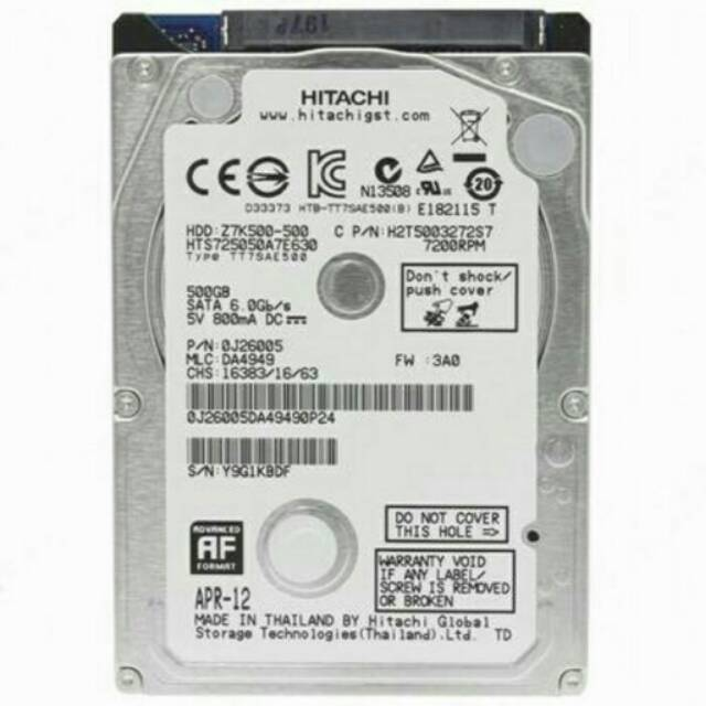 "Hitachi 1TB Internal 2.5"" 7200rpm HGST ORIGINAL"