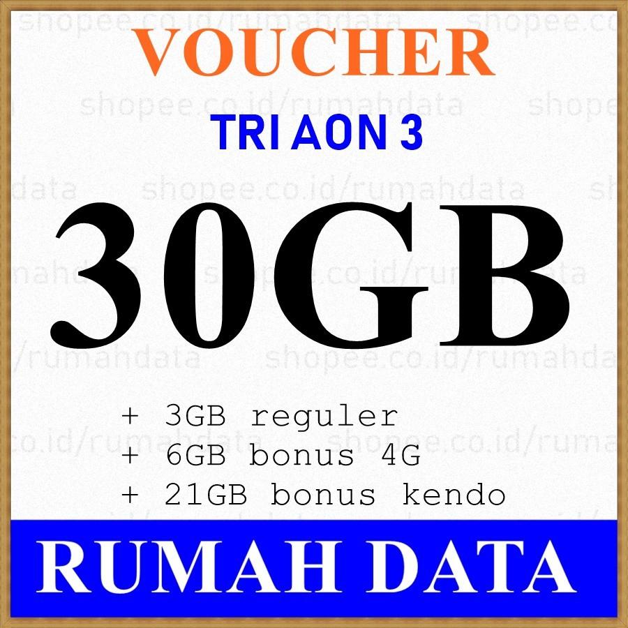 Voucher Tri Aon 35gb 5gb 10gb 4g 20gb Kendo Shopee Indonesia Voucer Perdana Paket Internet 3