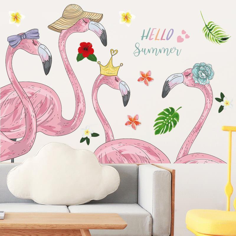 Stiker Dinding Dengan Bahan Mudah Dilepas Gambar Burung Flamingo