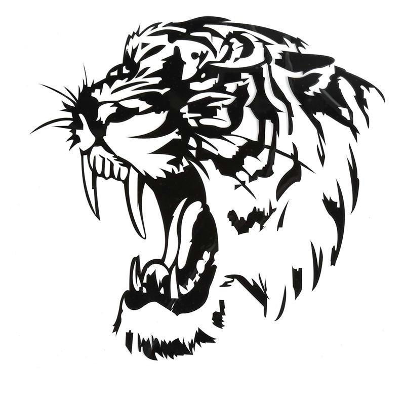 Sticker Decal Reflektor Motif Gambar Kepala Harimau Warna Hitam Untuk Kap Mobil Motor Shopee Indonesia