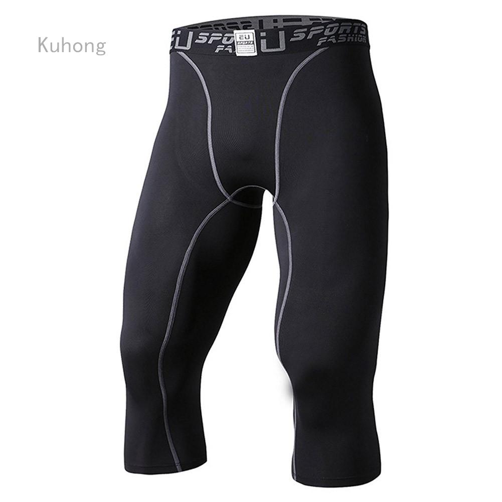 Kuhong Celana Legging 3 4 Compression Kering Untuk Pria Shopee Indonesia