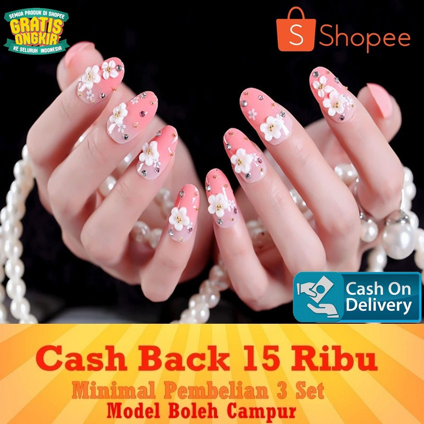 【COD】JBS Nails A33 Kuku Palsu Peach 3D Nikah Wedding False Fake Nail Nails