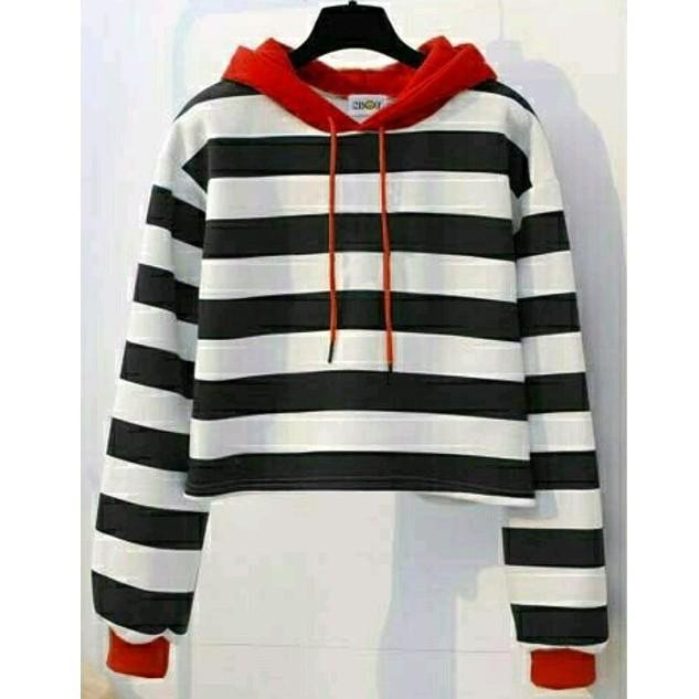 MichelleStore Sweater Crop Hoodie Wanita Alien Kombinasi | Shopee Indonesia