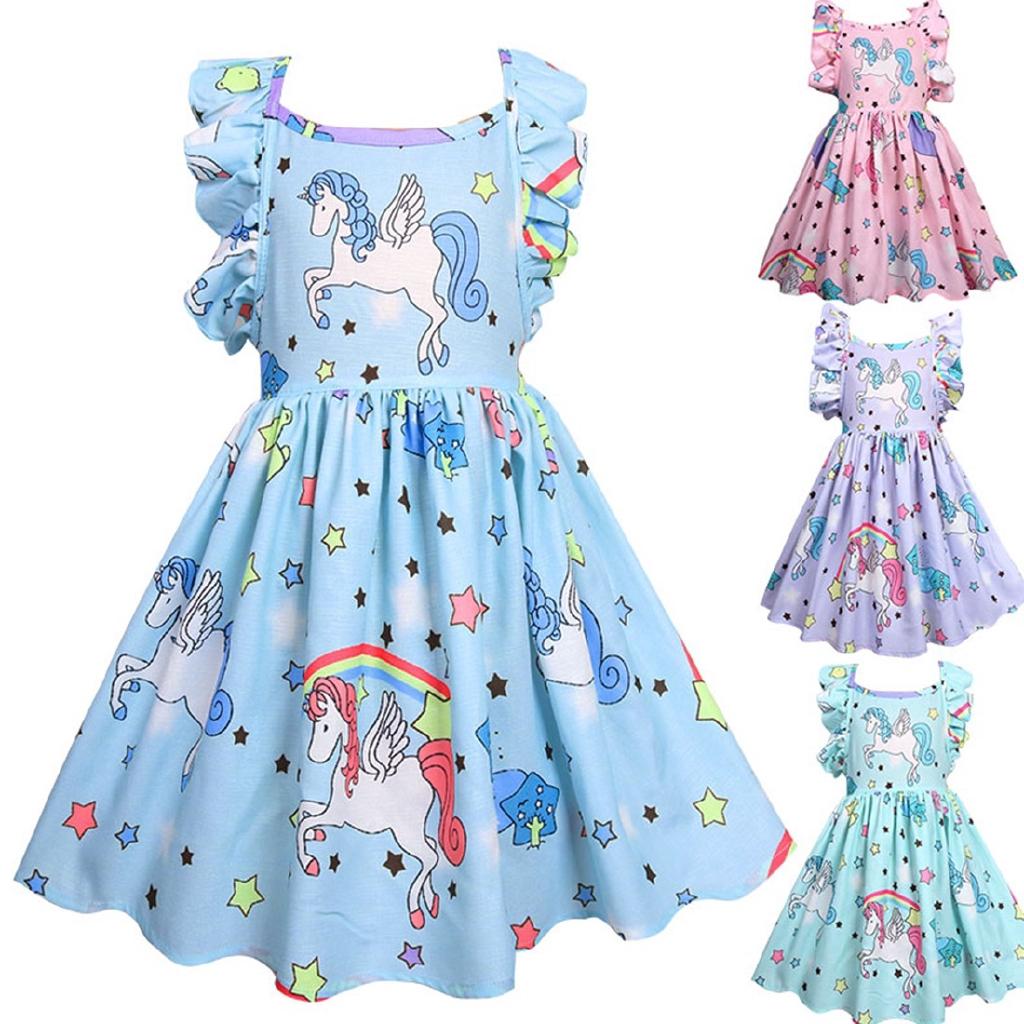 Summer Toddler Kid Baby Girl Dress Unicorn Party Pageant Dress Sundress Pink