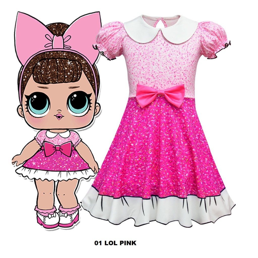 Baju Anak Perempuan Lols Surprise Dress Glitter Floral Shopee Indonesia