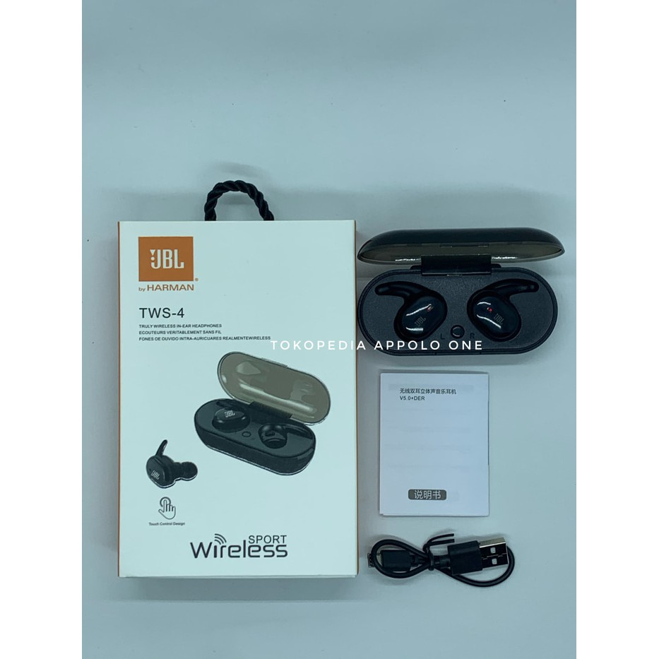 Jual Headset Bluetooth Jbl Tws 4 Earphone Wireless Tws4 V5 0 Berkualitas Shopee Indonesia
