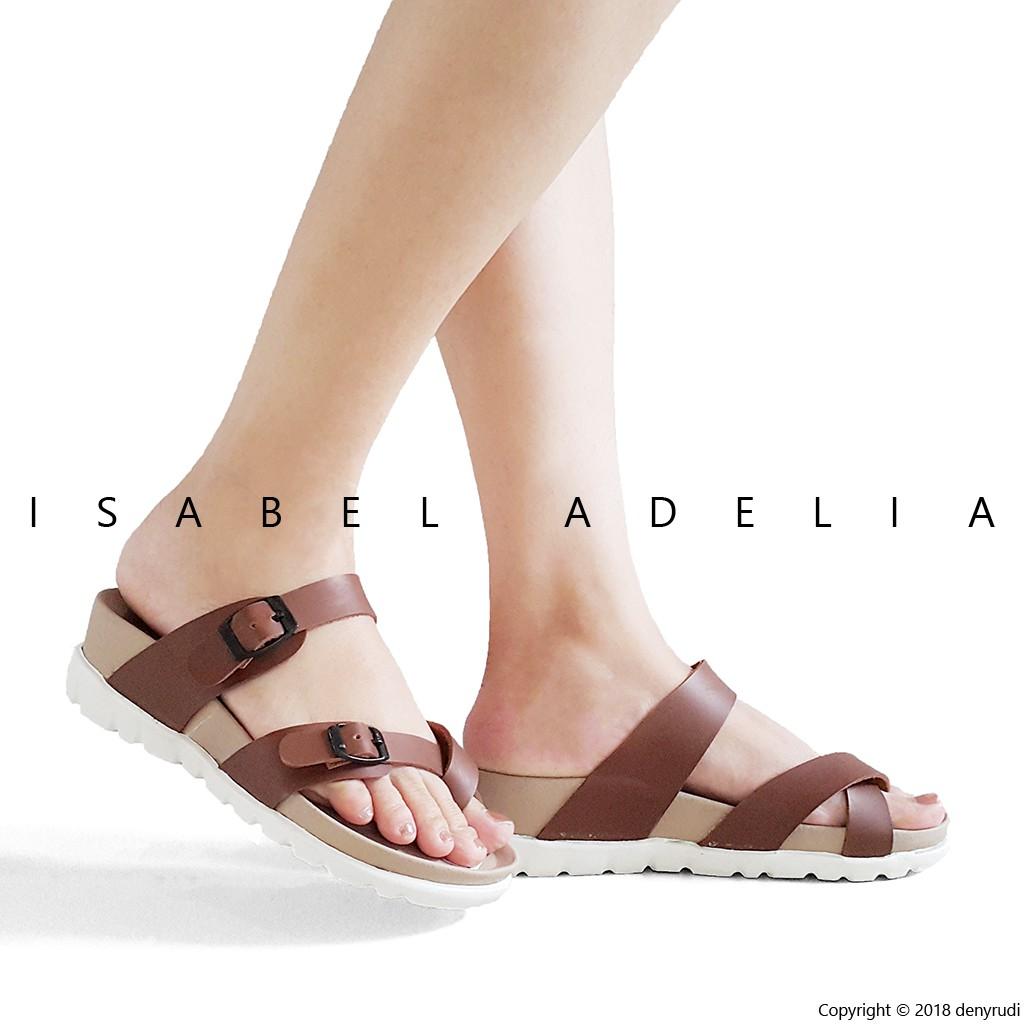 Isabel Adelia Bianca Sandal Platform Wanita Tali Karet Moka Coklat Sepatu Wedges Moca Shopee Indonesia
